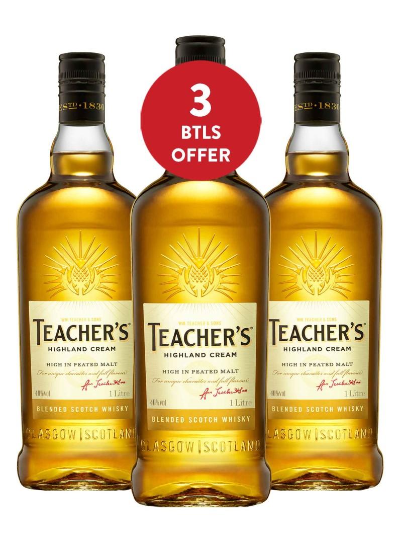 Teacher's Highland Cream Scotch Whisky 1L X 3